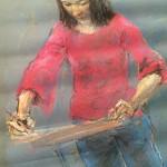 Meisje in tekenlokaal